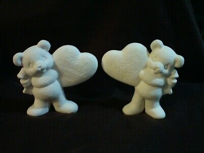 "Heart w// Teddy Bears Be My Valentine/"" *Ceramic Bisque Ready to Paint"