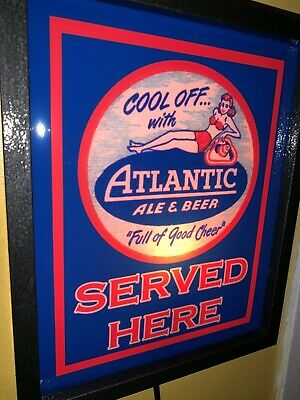 Atlantic Ale Pin-Up Girl Beer Bar Tavern Man Cave Lighted Advertising Sign