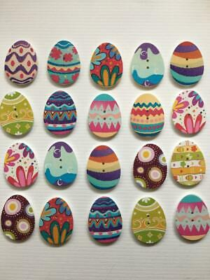 BB EASTER EGG BUTTONS MIXED PATTERNS pack of 10 wood craft