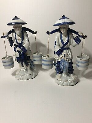 Vintage Asian Fisherman And Wife Porcelain Figurines Cobalt Blue W/ Gold Accents