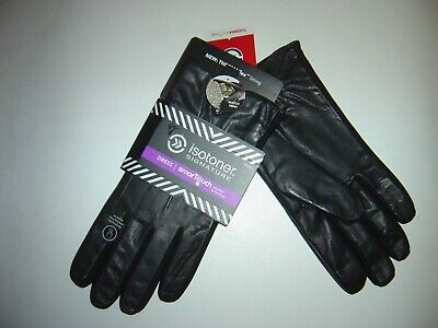 $90 Isotoner Men/'s THERMAflex SmarTouch Tech Leather Dress Gloves in Black Sz S