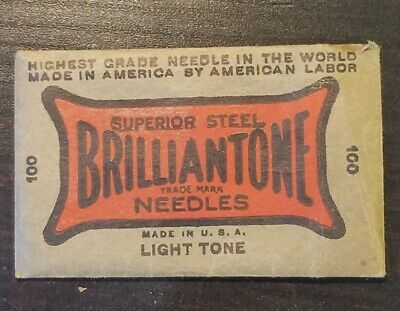 NOS MEDIUM TONE 100 Needles BRILLIANTONE SUPERIOR STEEL Victorola Phonograph