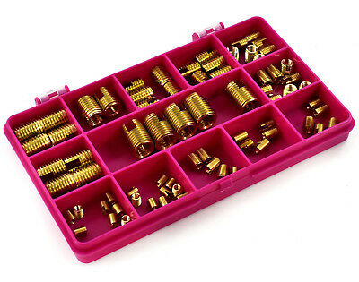 75 Piece Assorted Slotted Brass Insert Metric Self Tapping Threaded Screw In Kit