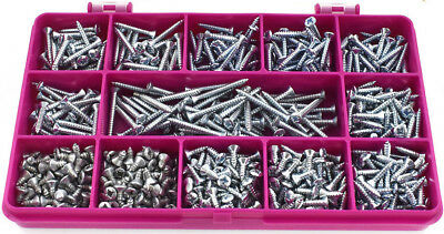 500 ASSORTED 4g POZI RAISED COUNTERSUNK ZINC BZP SELF TAPPING SCREWS - DIN7983