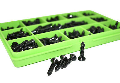 255 ASSORTED 7g RAISED POZI COUNTERSUNK BLACK ZINC SELF TAPPING SCREWS DIN7983