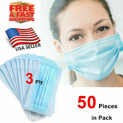 50 Pcs Disposable 3-Ply Medical Surgical Dental Anti-Dust Earloop Face Masks