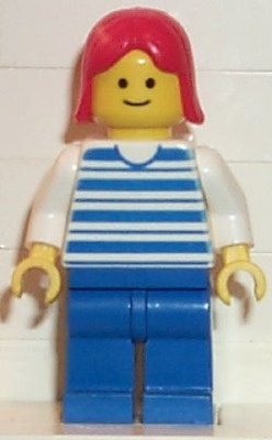 White Legs LEGO® Minifig hor022 Horizontal Lines Red Red Arms