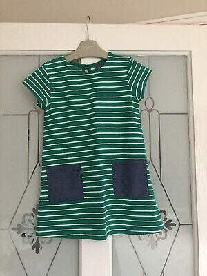 Next Girls Green & White Striped Summer Dress With Denim Pockets Age 2-3 Years