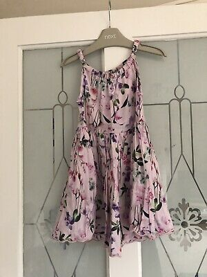 Next Girls Gorgeous Lilac Floral Design Summer Dress Age 2-3 Years Vgc