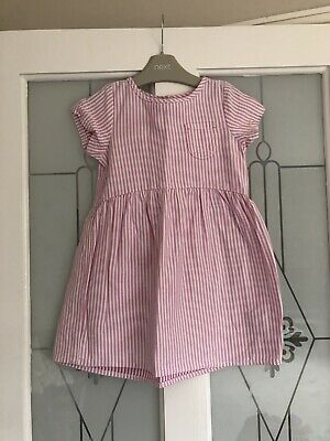 Next Girls Pink & White Striped Short Sleeved Dress Age 2-3 Years VGC