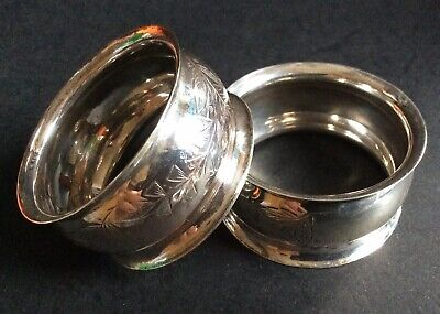 Pair of 1896 Sterling Silver Napkin / Serviette Rings - 26g.  (Ref: A)