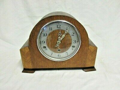 An Oak Smiths Enfield Westminster Quarter Chime Mantel Clock