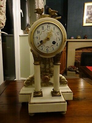 Marvellous Antique French 8 Day White Marble & Bronze Portico Mantle Clock C1880