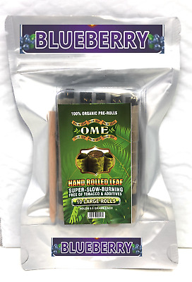 10 x Large  Blueberry Flavored Organic Natural Leaf Blunt Wraps  Brand OME