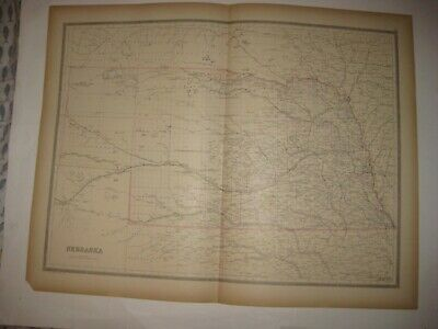 Large Antique 1884 Nebraska Dated Railroad Handcolored Map Unfinished Areas Fine