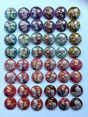 BB GLITTER FLATBACKS FROZEN pack of 12 - 6 pairs choice of colours craft