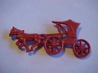 Antique Vintage Figural Horse Drawn Buggy Pin Brooch Celluloid 1870s