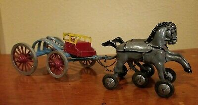 Antique Cast Iron Metal Toy Horse Drawn Buggy Plow