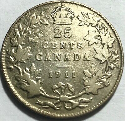 CANADA - George V - 25 Cents - 1911 - KM-18 - One Year Type - Silver Coin