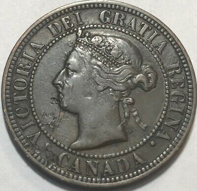 CANADA - George V - One Cent- 1891 - KM-7 - Large Leaves Large Date - VF Details