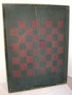 Antique 19thC FOLK ART GAME BOARD - Checker / Chess Board, Wood, Early GAMEBOARD