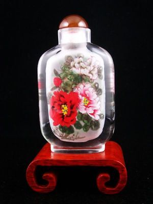 Peking Glass Gorgeous Flower Reverse Hand Painted Large Snuff Bottle & Stand