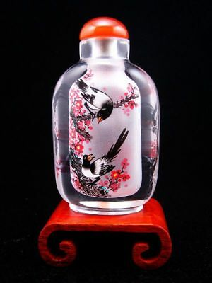 Peking Glass Birds On Trees Reverse Hand Painted Large Snuff Bottle & Stand