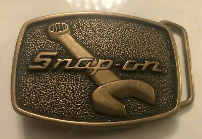 Vintage SNAP ON Mechanic Aged Solid Brass Large Heavy High End Belt Buckle Rare