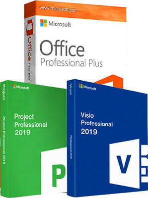 ✅ MS Project Pro 2019 + Visio PRO 2019 + office 2019 pro plus For 1 PC COMBO ✅