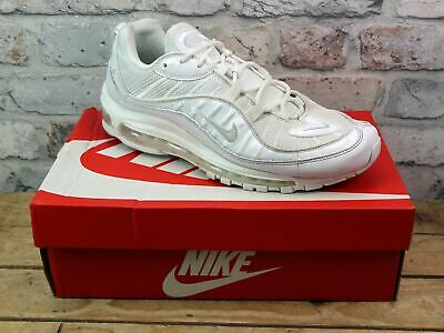 Mens Nike Air Max 98 White Suede Mesh Sports Active Sneakers Trainers Size Uk 9
