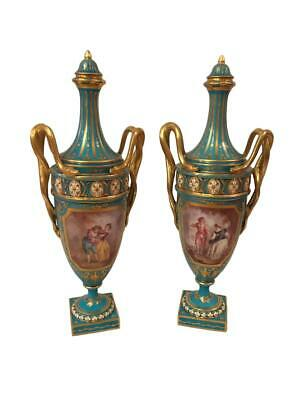 Antique Pair of Sevres Hand Painted Porcelain Vases