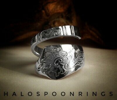 Pretty Spiral Denmark Solid Silver Spoon Ring 1917 Perfect Mothers Day Gift Idea