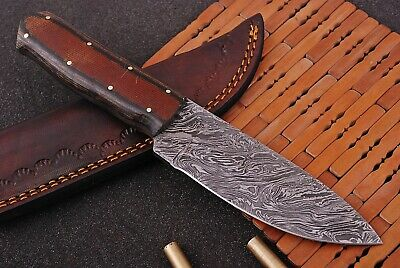 Hand Forged DAMASCUS STEEL Hunting Knife W/ Stained Wood & Steel Bolster Handle.