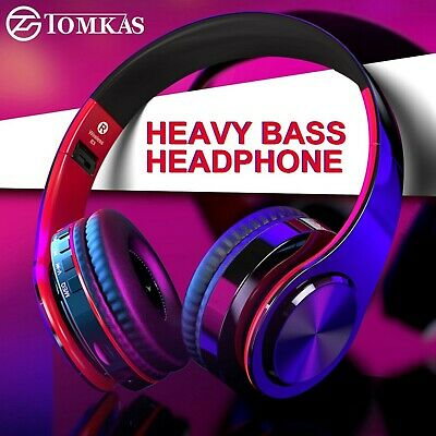 TOMKAS Bluetooth Wireless Stereo Foldable Adjustable Onear Headphone With Mic/TF