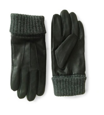 London Fog mens Leather Gloves with Knit Cuff size M