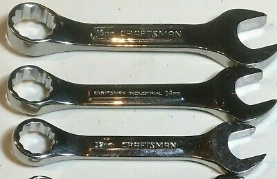 Rare Mixed Lot Of 3 Stubby Craftsman/Craftsman Industrial Metric  Wrenches Usa
