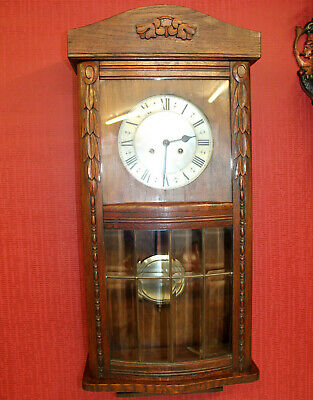Antique Wall Clock Chime Clock Regulator 1920th century ,with rounded glass