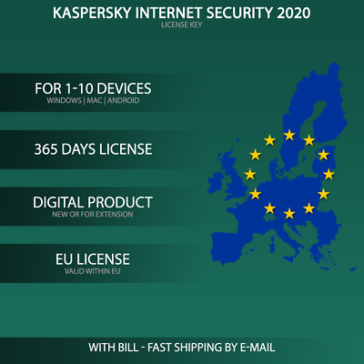 Kaspersky Internet Security 2020 EU [1 PC,  2 PC, 3 PC, 5 PC, 10-GERÄTE USER ]