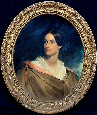 Large 19th Century English School Portrait Of A Lady Antique Oil Painting