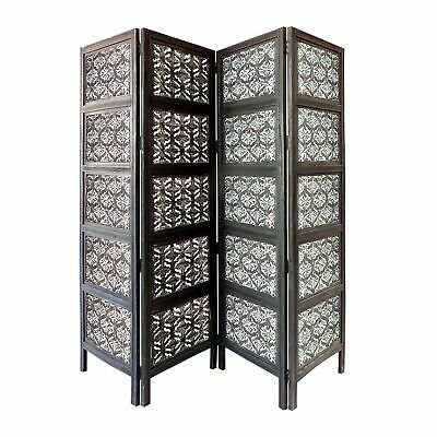Four Panel Mango Wood Room Divider with Traditional Carvings, Black and White