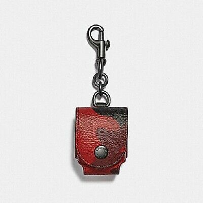 Coach F79794 Oxblood Camo Red Wireless Earbud Case Holder Nwt $68