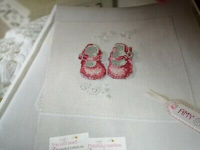 Cross Stitch Chart Baby Shoes Sampler Chart Colour Code In Pink & Blue