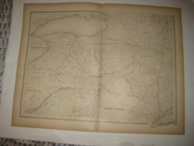 Large Fine Antique 1884 New York & City Handcolored Railroad Dated Map Superb Nr