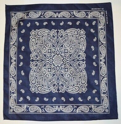 Vintage Bandana Color Fast USA 100% Cotton Navy Square RN 13962 Unused Unwashed
