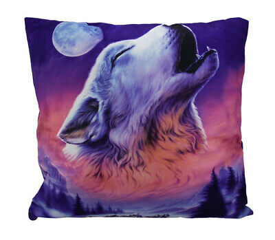 Zeckos Night Howl Winter Wolf Head Baying At The Moon Throw Pillow 17 Inch