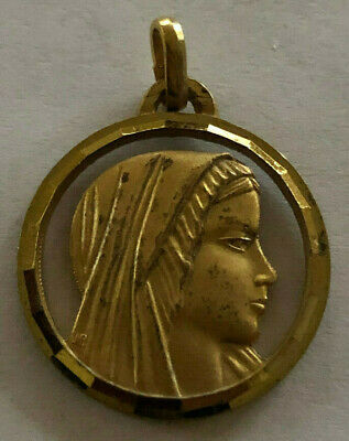 Catholic Religious Holy Medal / GOLD TONE / Blessed Virgin Mother Mary / FATIMA