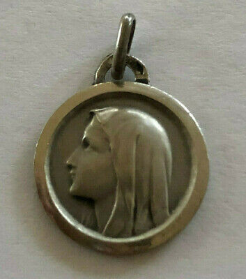 Vintage Catholic Religious Holy Medal // STERLING // Blessed Virgin Mother Mary