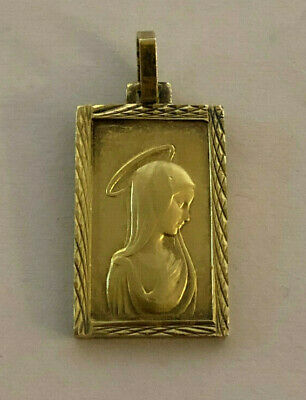 Vintage Catholic Religious Medal // GOLD TONE // Blessed Virgin Mother Mary