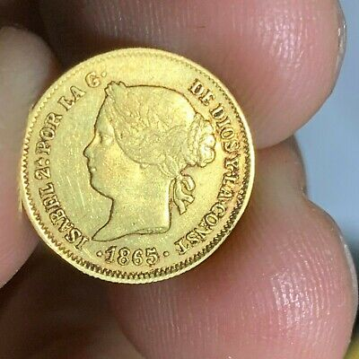 Spain Philippines One Peso 1865 Isabel Ii Gold Xf Condition Scarce Date #495