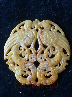 Collect Chinese hetian jade hand-carved dragon and phoenix pendant amulets